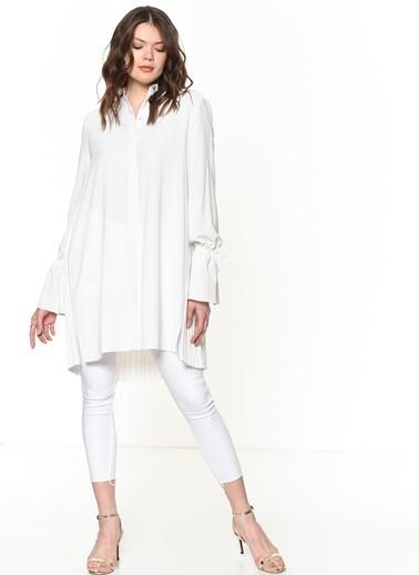 Si Design Pileli Uzun Gömlek Renkli